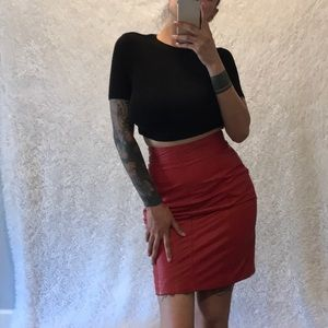 WILSONS Red Leather Skirt